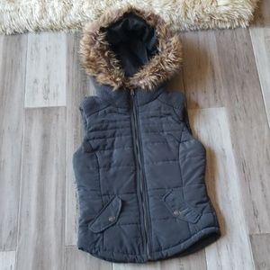 Aeropostale Puffer Vest with Hood and Fur Trim